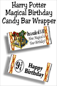 Wish your friends a magical birthday with this fun Harry Potter candy bar wrapper. This candy bar printable is the perfect card and gift in one for a Harry Potter party. #harrypotterbirthdaycard #harrypottercandybarwrapper #hogwarts