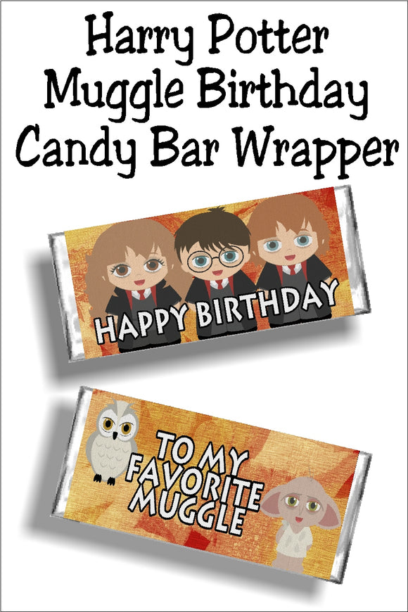 Wish your favorite Muggle a Happy birthday with this printable Harry Potter candy bar wrapper.  Wrapper is the perfect birthday card and gift in one to any Harry Potter fan or friend of a Potterhead. #harrypotterparty #harrypotterbirthday #candybarwrapper