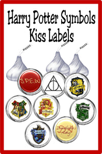 Bring all the Hogwarts Houses and your Harry Potter symbols to your dessert tabl or party favors with these Harry Potter Kiss printable labels. These printable Kiss lables are the perfect addition to any Harry Potter party.