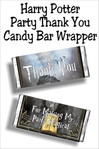 Say thank you to all your guests with this Harry Potter party thank candy bar wrapper.  Your party guests will love taking home this candy bar as a party favor and a sweet thank you. #harrypotterparty #harrypotterpartyfavor #candybarwrapper