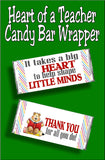 Say thank you to your favorite teacher with this fun Teacher thank you candy bar wrapper. This bar is perfect for teacher appreciation week or as an end of the school teacher gift.