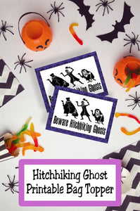 Have a hauntingly good time at your Haunted Mansion Halloween party with these printable bag toppers available in lots of sizes and perfect for your party favors or dessert table. #hauntedmansion #hitchhikingghost #bagtopper #halloween #halloweenprintable