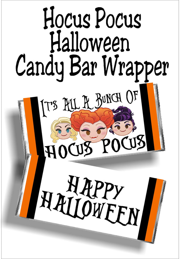 Wish all your fellow witches a Happy Halloween with this fun Hocus Pocus candy bar wrapper printable. This instant download candy label means you can download and print the perfect Halloween party favor or Halloween card for all your friends and family.