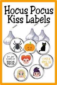 Make your Halloween party magical with these fun Hocus Pocus printable circles perfect for Hershey kisses or Reeses peanut butter cups. These labels make the perfect party favor or dessert treat for your Hocus Pocus party.