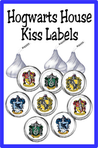 Decorate for all your Harry Potter party treat needs with these Hogwarts House stickers in all the sizes you need from Hershey Kisses to Whirly pops and everything in between.  Hogwarts House stickers come with a white background and the Hogwarts house crests from Gryffindor, Ravenclaw, Slytherin, and Hufflepuff.