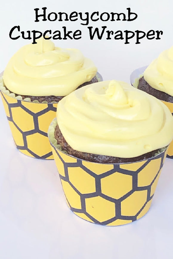 Make your dessert table Bee something special with these honeycomb printable cupcake wrappers. They are such a simple and fun way to add a little bit of something extra to your next bee party.