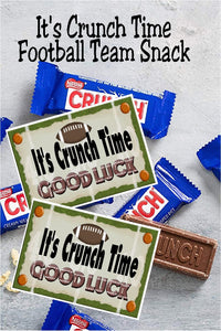 Wish your football team a good luck on their next game with this printable bag topper that's perfect for a football team snack or as game treats from the team mom or booster club. Simply fill a bag with yummy fun size candy bars and add this bag topper for an easy party favor or team snack.