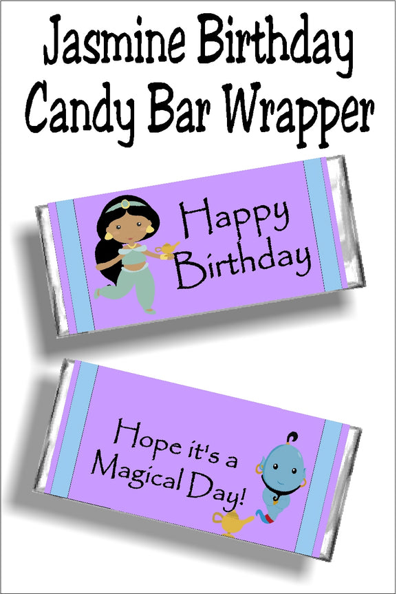 This Jasmine candy bar wrapper is the perfect birthday card and gift for your little princess.  It's the perfect favor for a Jasmine or Aladdin party!  Wrapper has a purple background with a purple and blue line border strip on both sides of the wrapper.  On left of front of wrapper is a Jasmine and the maic lamp graphic.  Sentiment reads