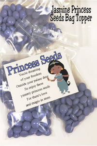 Share your princess love with this fun printable bag topper perfect for you Aladdin or Princess Party.  Bag topper printable has Jasmine standing on right side of topper with the poem that reads:   You're dreaming of your freedom  Outside your palace door  So enjoy these yummy princess seeds  For there's love and magic in store.