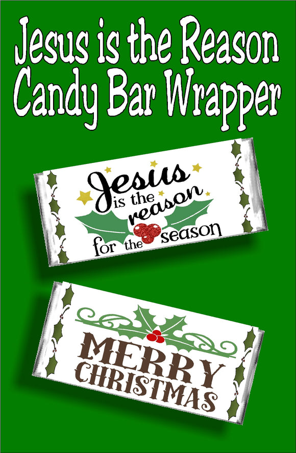 Wish your church, your class, your friends and your neighbors a religious Merry Christmas was this beautiful candy bar wrapper christmas card.  Printable wrapper is perfect for everyone on your list since it's a card and gift in one.