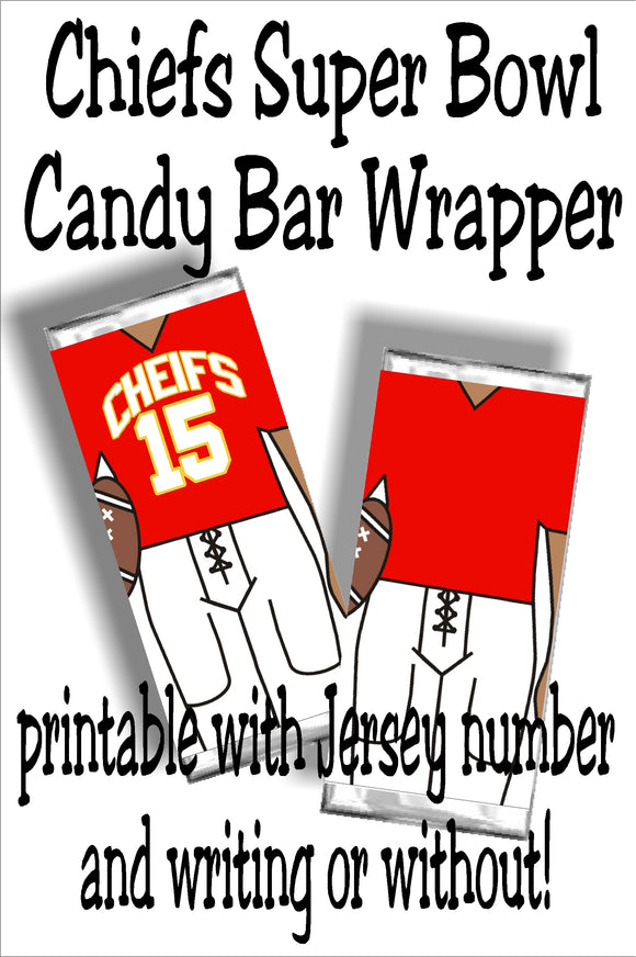 Cheer on your Chiefs to a sweet victory with this printable football jersey candy bar wrapper.  This candy treat is perfect for your Super Bowl party dessert table or as football party favors for your next team party.
