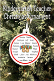Give a Christmas ornament to your favorite teacher with this personalized ornament that is sure to be a wonderful memory for years to come.  Christmas ornament has the teacher's name on one side and all of her student's names on the other, including the year and grade taught.