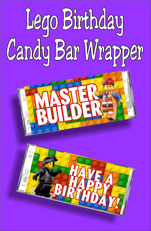 Lego Birthday Candy Bar Wrapper