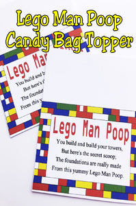 This bag topper is perfect for your Lego party.  Little boys and girls will love this yummy candy party favor.  Printable is available for immediate download for last minute birthday party favors.