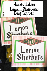 Bring a bit of Honeydukes candy store to your Harry Potter party with this printable bag topper.  Simply add some lemonheads or other lemon candies to a bag and top with this bag topper for the perfect Harry Potter party favor or addition to the dessert table.