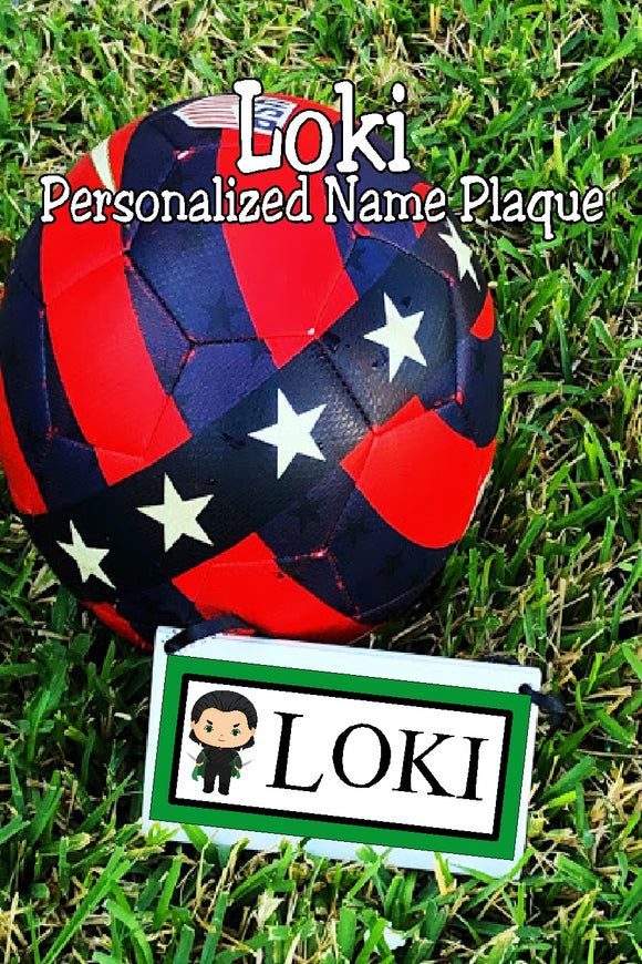 Share your love for your favorite antihero with this Loki personalized name plaque perfect for your home decor or office. #lokifan #lokigiftidea