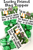 "Show your friends how lucky you are to have them with this St Patrick's day bag topper.  Bag topper has a cute bear and horseshoe graphic with the greeting ""I'm so lucky to have you for a friend""  Fill the bag with green candies or these green clover chocolates for a sweet treat to give all your friends."