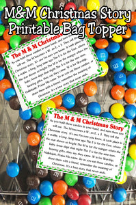 Tell the Christmas story with M&Ms in a sweet way with this candy topper printable. #bagtopper #christmasstory #religious #candy #printable