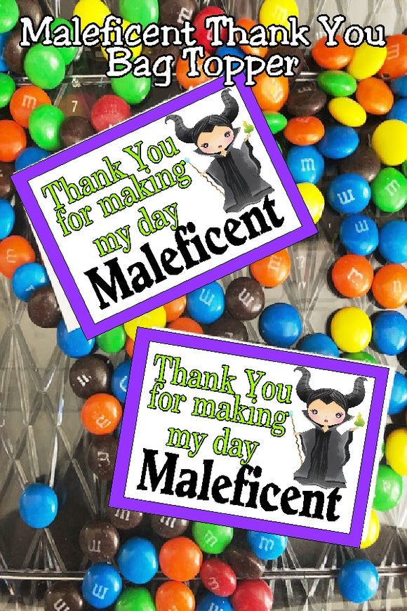Give your Sleeping Beauty party guests a sweet treat with this Maleficent thank you bag topper. With the addition of some yummy candy, this printable bag topper is the perfect thank you gift. #maleficent #disneyvillian #sleepingbeautyparty #bagtopperprintable