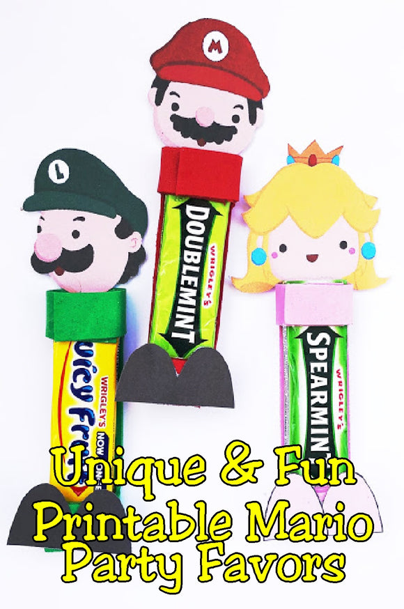 Bring Mario, Luigi, and all your Super Mario friends to your Mario party with these printable party favor treats. Using a 5 pack of gum and a few items around your house, you'll be creating these gum head party favors in no time. Complete directions are included so you will be able to make these. #supermarioparty #mariopartyfavors #printableparty