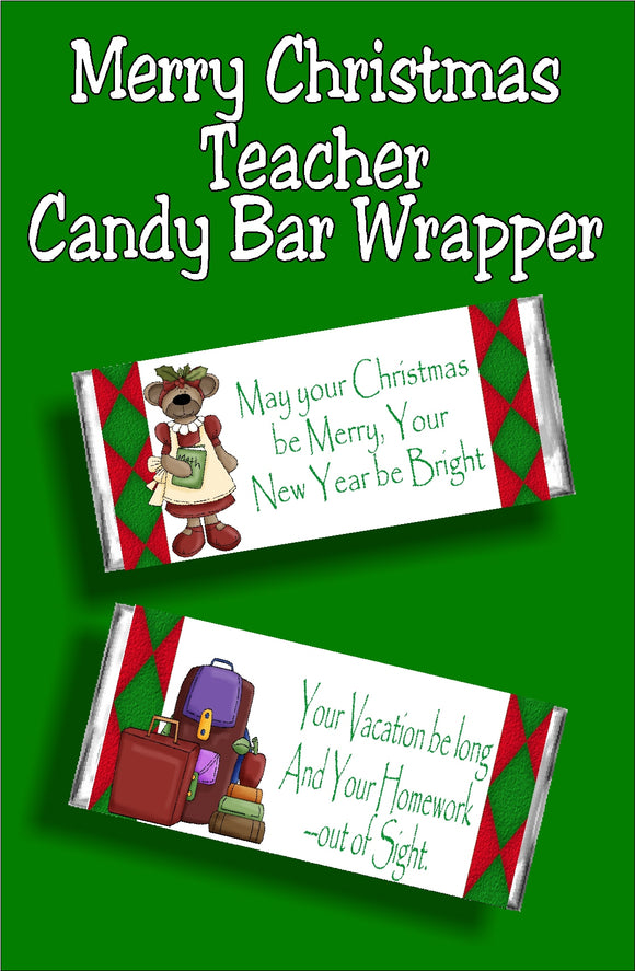Wish everyone at school a Merry Christmas and a vacation filled with no homework! This candy bar card is the perfect school Christmas gift idea.