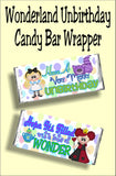 Wish your friends a Merry Unbirthday with this fun Wonderland candy bar wrapper.  This wrapper is a perfect birthday card or party favor for an Alice in Wonderland birthday party.