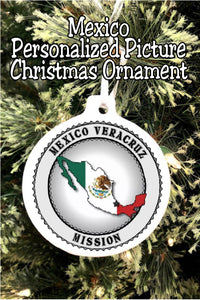 "Have your son or daughter how ""with you"" this Christmas while you  celebrate their service in the mission field with this personalized Mexico mission Christmas ornament. #ldsmissionary #mexicomission #missionarychristmasornament"
