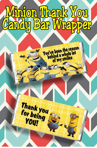 You've been the reason behind a whole lot of my smiles....thank you for being you. Thank someone special for being in your life with this Minion Thank you candy bar wrapper. This candy bar is even better than giving a Thank you card, because it's a card and a gift in one!