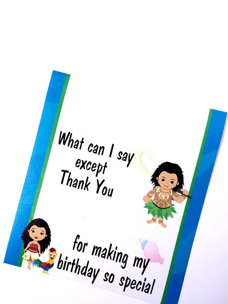 Maui Thank You Birthday Printable Candy Bar