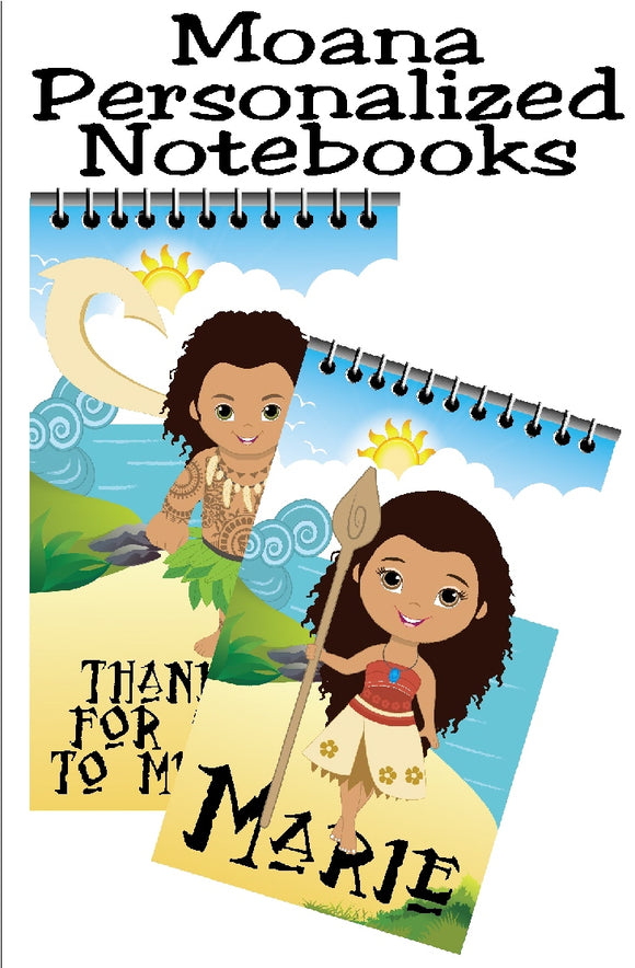Bring the whole gang to your Moana party with these fun, personalized mini notebooks  notebooks make great party favors or treats at your party and are the perfect way to say thank you for coming  #moanaparty #personalizedparty #moanapartyfavor