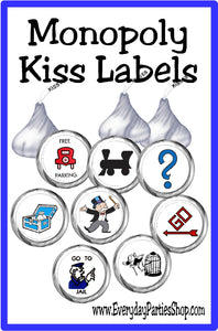 Play Monopoly with these yummy and cute Monopoly kiss label printables perfect for your Game Night party.  #gamenight #kisslabels