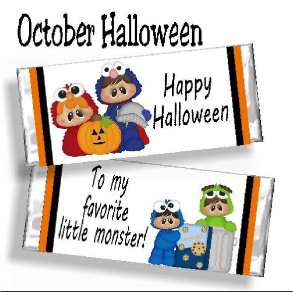 Halloween Monsters Candy Bar Wrapper
