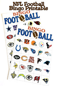 If you can't play in the NFL, at least you can play NFL football bingo. This printable is a fun game to play at your football party or while tail gaiting with your friends. Just download, print, cut, and play!