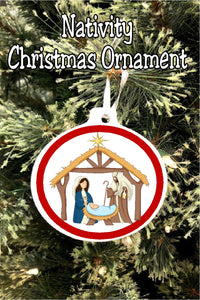 Celebrate the meaning of Christmas with this nativity Christmas ornament perfect for your Christmas tree. Choose from different designs and colors to create your own family heirloom perfect for Christmas gifts and celebrating Christmas at home.