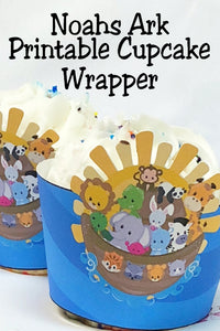 Turn store bought cupcakes into party masterpieces with these fun printable Noah's Ark cupcake wrappers.  You get all the excitement and fun of a great party decoration without any stressful work.