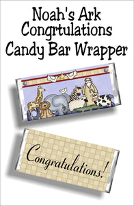Print this beautiful candy bar wrapper for your noahs ark baby shower card or gift.  Wrap it around a Hershey candy bar and give for a truly special and unique party favor or card.