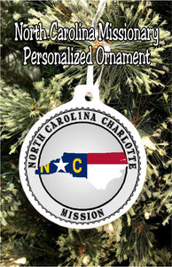 "Have your son or daughter how ""with you"" this Christmas while you  celebrate their service in the mission field with this personalized Texaso mission Christmas ornament. #northcarolinamission #missionarychristmasornament #ldsmissionary"