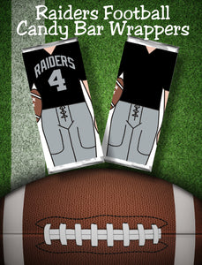 "Cheer your favorite football team all the way to the big game with these printable candy bar wrappers. Candy bar wrappers comes with the Oakland Raiders jersey colors and can cheer ""Go Raiders"" or any other cheer you need. #raidersfootball #oaklandraiders #raiderscandybarwrapper"