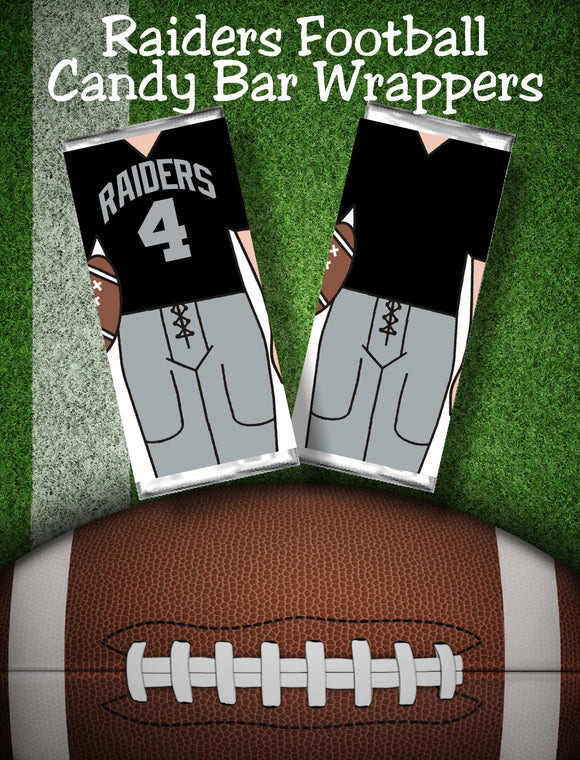 Cheer your favorite football team all the way to the big game with these printable candy bar wrappers. Candy bar wrappers comes with the Oakland Raiders jersey colors and can cheer
