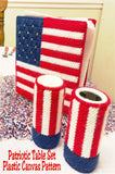 Decorate your table in red, white, and blue with this patriotic table set in plastic canvas. Included in this pattern set is a Flag Placemat, Uncle Sam Hat, 3 Mason Jar Covers, Salt and Pepper Cover, and a Flag Napkin Holder Cover.