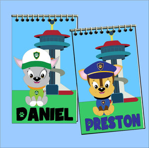 Bring the whole gang to your Paw Patrol party with these personalized notebooks perfect for your Dog party.  These will be unique, fun party favors that will give your guests something they will love to use when the party is over.