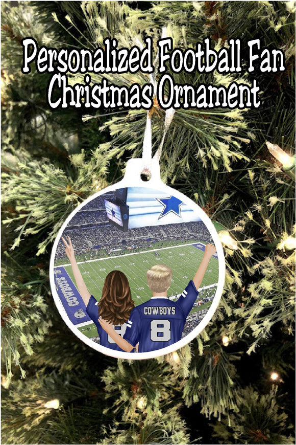 Whether you're a basketball, football, baseball, or any other sport fan, celebrate with your favorite friend at your favorite stadium this year with these personalized sports christmas ornament. Each ornament features you and a friend at your favorite stadium (you pick which team, stadium, and then all the personalization to make this a truly custom ornament for your Christmas tree.