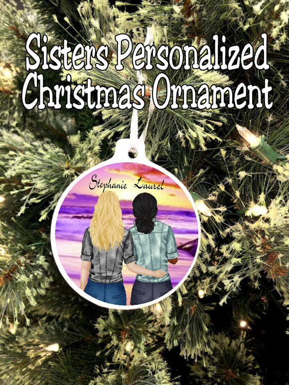 What happens between sisters stays between sisters. Celebrate your sisterhood with this personalized Christmas ornament perfect for you and your sister.  By changing the hair, skin, and clothes, you'll have the perfect ornament for your sisters today.