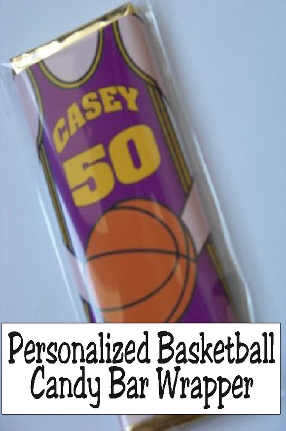 Personalize this basketball candy bar wrapper with any name, any color, or any team so it's perfect for your favorite basketball birthday party, for each team member on your basketball team, or for any special occasion.