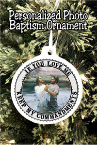 Remember this most special day with a personalized baptism Christmas ornament to hang on your Christmas tree now and for years to come.  #ldsbaptism #baptismchristmasornament #ldschristmasornament