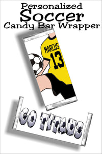 Personalized Soccer BOY Candy Bar Wrapper