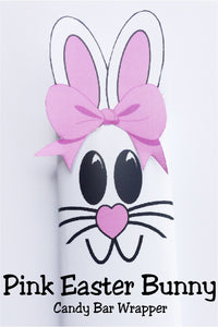 Celebrate Easter with some one you love by giving them this cute pink Easter bunny candy bar.  This candy bar is the perfect addition to an Easter basket or class party.