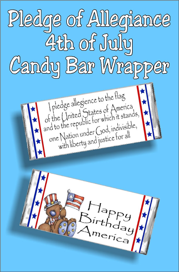 Bring a little bit of fun and patriotism to your 4th of July celebration with this patriotic candy bar wrapper.  With the pledge of allegiance on the front and a cute patriotic bear on the back, your guests will love this yummy candy bar favor at your 4th of July party.