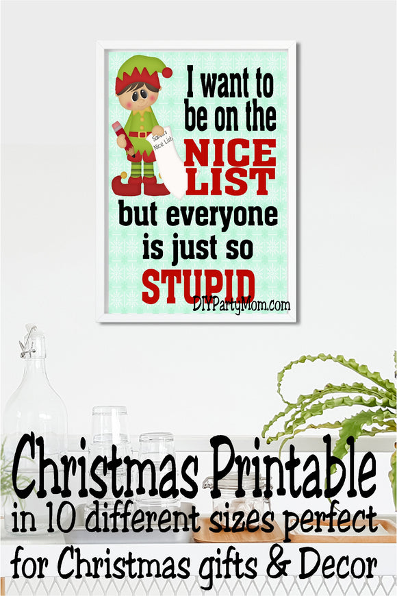 Stupid Nice List Christmas Decor Printable