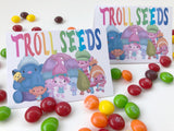 These Troll Seeds bag toppers are the perfect give for our Trolls birthday party! They are quick and easy to put together and so stinkin' cute. Print them out now and bring a smile with Princess Poppy and the Trolls squad.